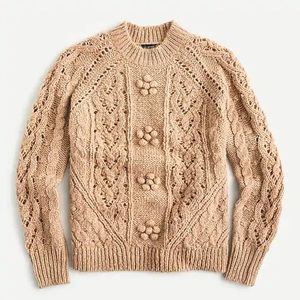 JCREW Cable Knit Pointelle Sweater NWT XL Saddle